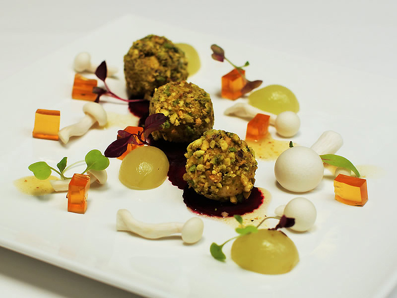 Pistachio-Crusted Goat's Milk Cheese with Beetroot, Verjus Jelly & Mustard Dressing